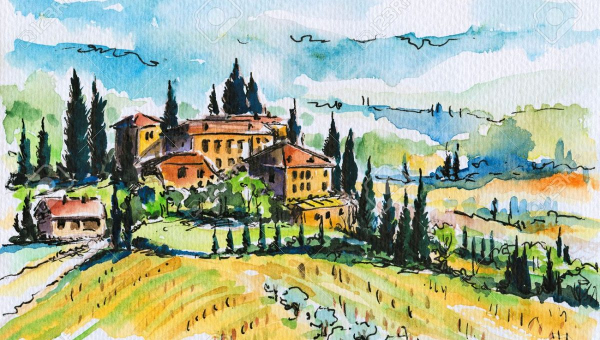 18794095-landscape-with-town-and-cypress-trees-in-tuscany-italy-picture-created-with-watercolors